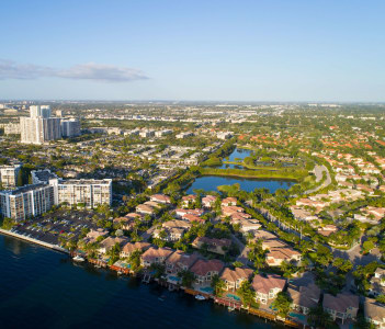 Aerial image of Hollywood Lakes and Beach Florida USA.