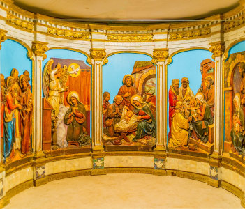 The beautiful tableau with Bible scenes located in altar in Bethlehem