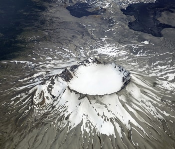 Puyehue volcano crater in the southern Andes Mountains in Chile
