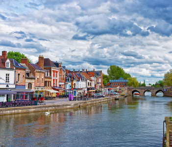 Quay of Belu with traditional houses and Somme River in Amiens, France