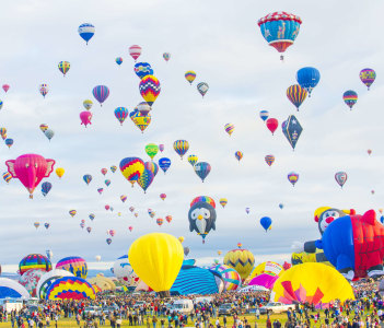 Balloons fly over Albuquerque on October 11 2014 in Albuquerque New Mexico. Albuquerque balloon fiesta is the biggest balloon event in the world.