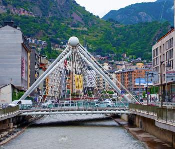 Bridge through Gran Valira river in Andorra la Vella