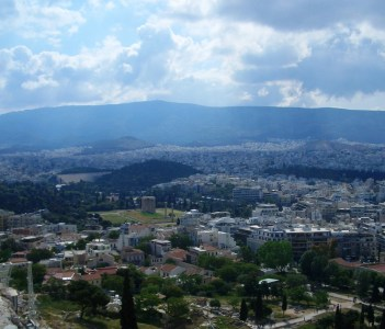 city of Athens view from Acropolis hill