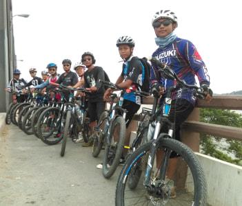 Cycling on the Yadanaborn Bridge