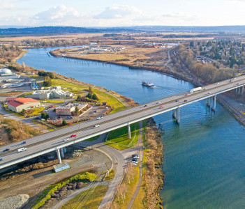 Bridge over Snohomish River Everett Washington in USA