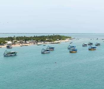 Aerial view of india coast line rameswaram pilgrimage