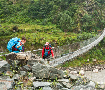 Suspension bridge on River Kali Gandaki Tatopani Nepal