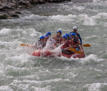 A group of people makes rafting in the waters of the river canete circa in Lunahuana Peru
