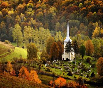 Mountain Rural Landscape in Autumn, Apuseni mountains, Romania