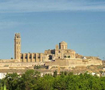 Panoramic view of Lerida (Lleida Catalunya Spain) at summer. The historic city