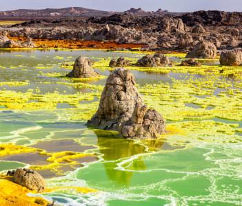 Colourful volcano Dallol in Danakil dessert, Ethiopia