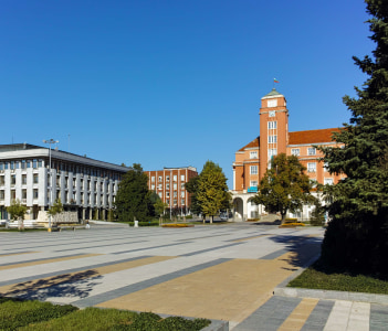 Panoramic view of Central Square in City of Pleven, Bulgaria