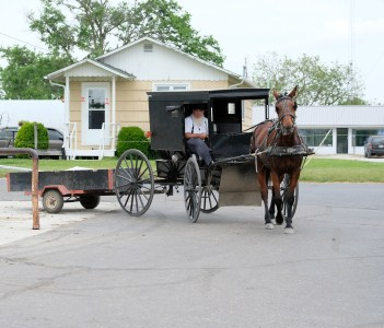 Amish horse and buggy in Northern Indiana's Amish Country in Shipshewana