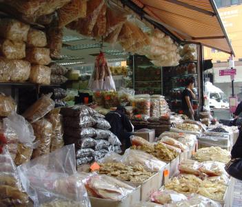 Street Scene of Sun Dried Food Market