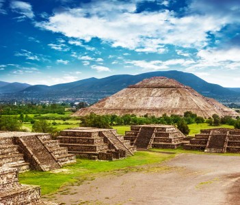 Pyramids of the Sun and Moon on the Avenue of the Dead, Teotihuacan ancient historic cultural city, old ruins of Aztec civilization, Mexico, North America