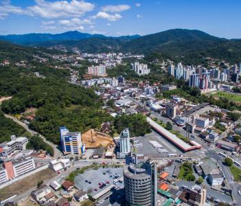 Aerial city view of Blumenau, Brazil