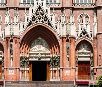Brick facade of the Cathedral of La Plata