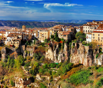 Ancient Spain Cuenca town on cliff rocks