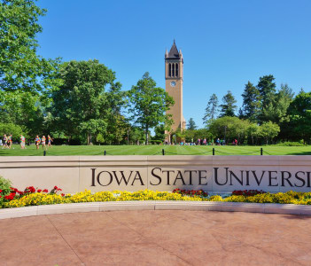 The landmark Stanton carillon bell tower campanile on the campus of Iowa State University in Ames USA