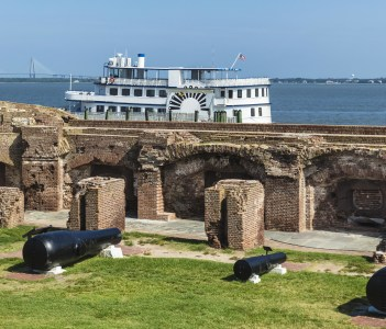 The largest guns used in the Civil War are on display at the Fort Sumter site in North Charleston USA
