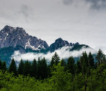 Mountains and forest at Kranjska Gora in Slovenia