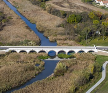 Aerial photo shows the iconic nine arched Bridge in Hortobagy Hungary