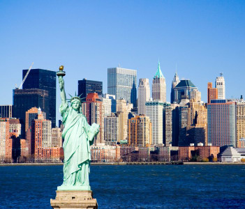 Statue of Liberty overlooking lower Manhattan and New York