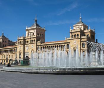 Cavalry Academy and the fountain Zorrilla of Valladolid Castilla y Leon
