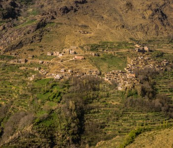 Village of Tacheddirt at the end of the first day of Toubkal circuit in Morocco