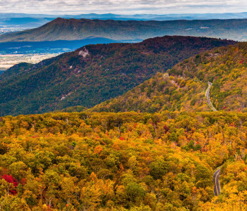Autumn view of the Appalachians from Loft Mountain in Shenandoah National Park USA