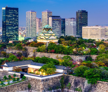 Osaka, Japan skyline at Osaka Castle Park.