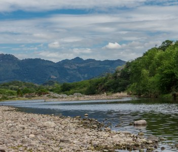 River view from Somoto Nicaragua with mountains background