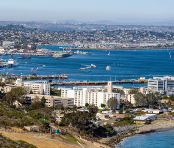 A panoramic overview of north San Diego Bay near National City