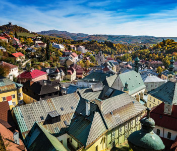 Look-out of balcony of old castle tower in Banska Stiavnica