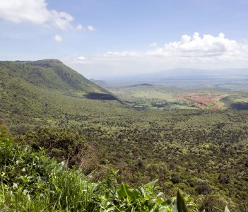 The beautiful landscape of the Great Rift Valley from the Kamandura Mai-Mahiu Narok Road, Kenya, Africa.