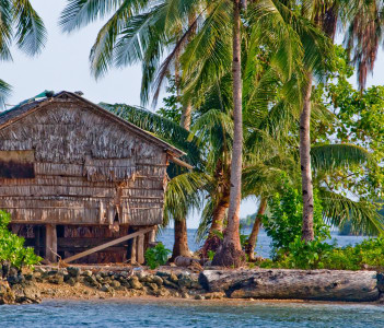 Bamboo hut on stilts on Gizo island in western province of Solomon Islands