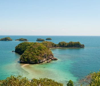 Group of islands at Hundred Islands National Park in Alaminos
