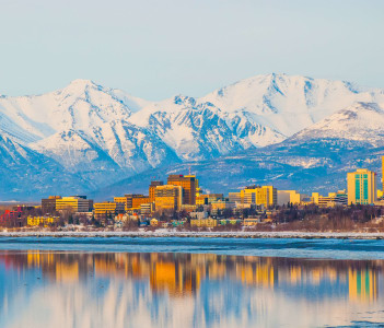 Downtown Anchorage at sunset on a clear spring day