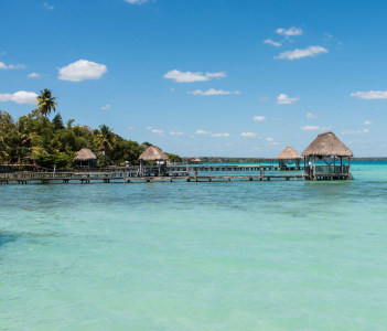 Pier on the lake in Bacalar, Mexico