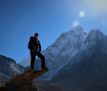 the picture was taken at the altitude of 4600masl, mountain seen in the background is mt. Amadablam one of the most beautiful mountain in the world. everest region.