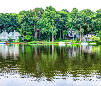 Lake Audubon with lakefront waterfront houses in Reston, Virginia