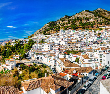 Panorama of white village of Mijas Costa del Sol Andalusia Spain