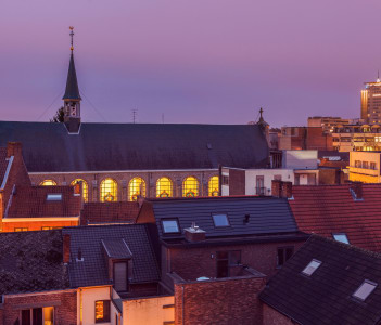 Panorama of Hasselt at night. Flemish Region, Belgium