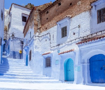 Stairway in the Blue Medina of Chefchaouen Morocco