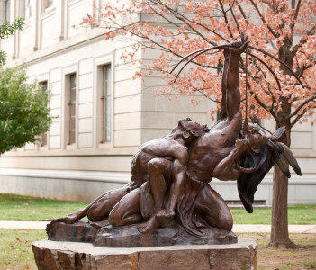 Born to Lead monument in University of Arkansas
