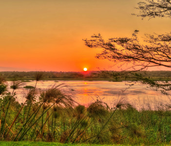 The sunset over the lake at St Lucia South Africa