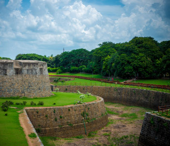 Palakkad Fort Garden during a summer day, Kerala, India