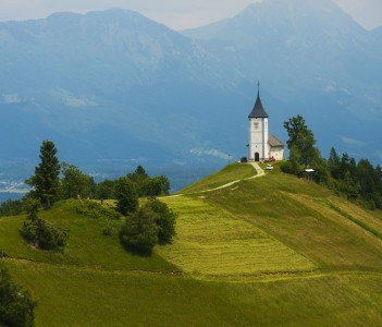 Jamnik Church on a Hill above Radovljica City, Slovenia