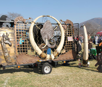 Large African Artwork with Imitation Elephant Tusks on Display at Wildsfees (Game Festival), Thabazimbi South Africa