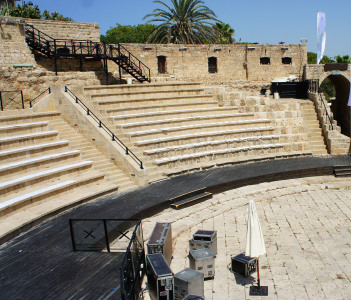 Aerial view of Shuni Amphitheater, Binyamina, Israel